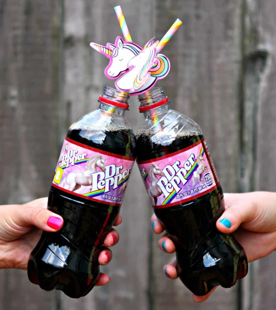 Cheers to Dr Pepper with unicorn labels and this awesome DIY Unicorn Tumbler