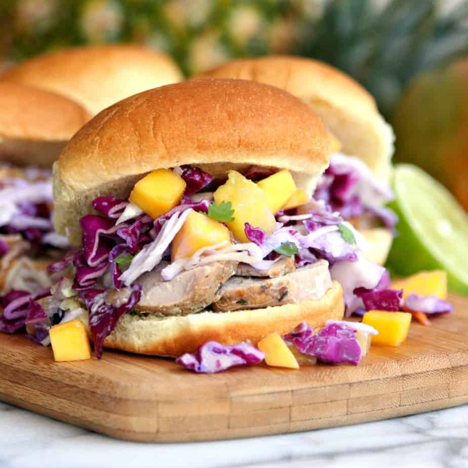 Pork Sliders with Mango Pineapple Coleslaw