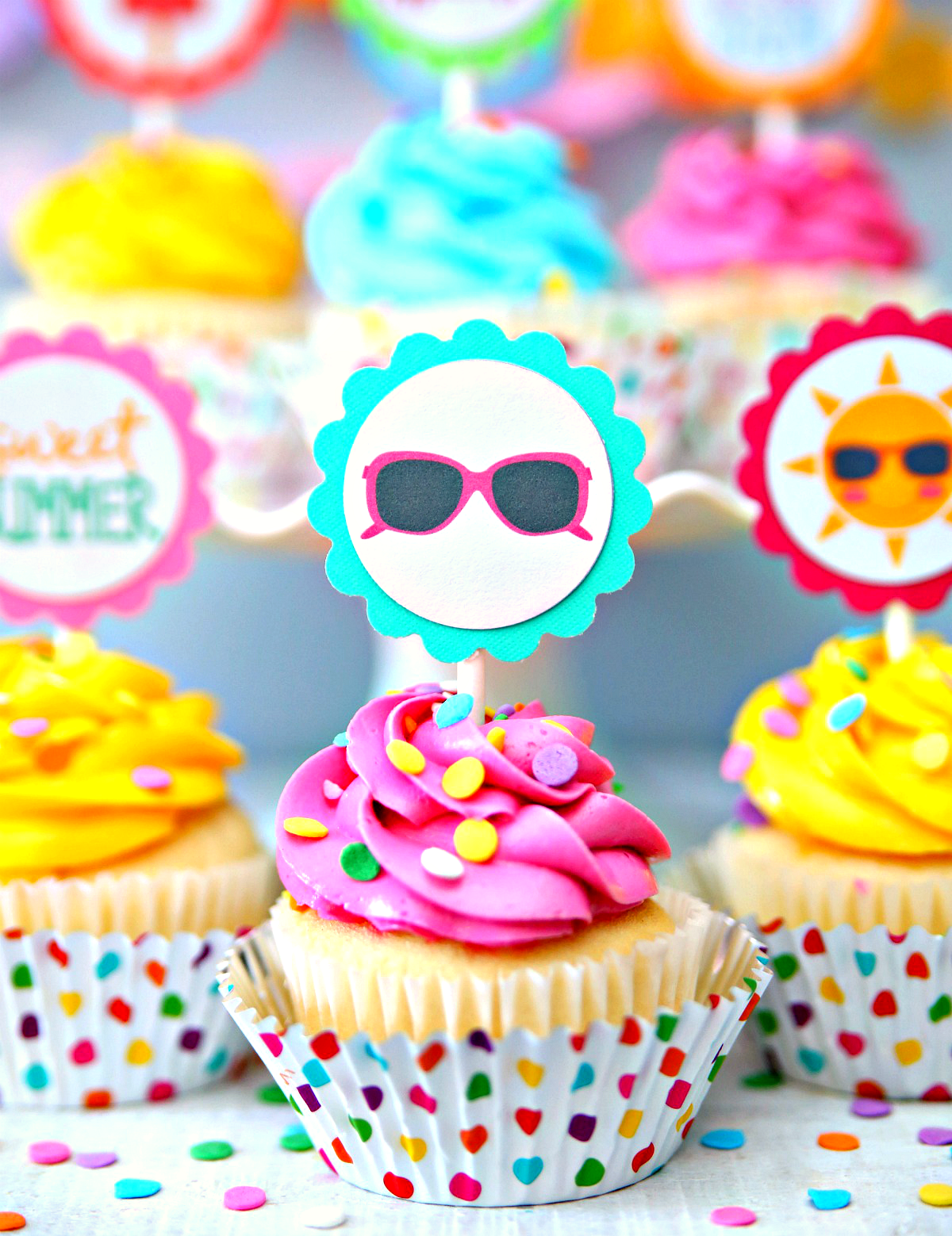Summer Cupcake Toppers Free Printable