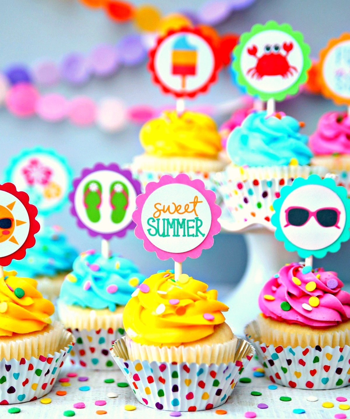 Summer Cupcake Toppers Sweet Summer Free Printable