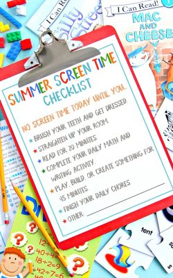 Summer Screen Time Checklist Free Printable