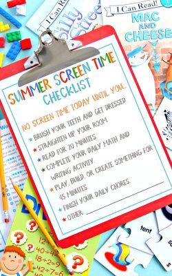 Summer Screen Time Checklist Free Printable