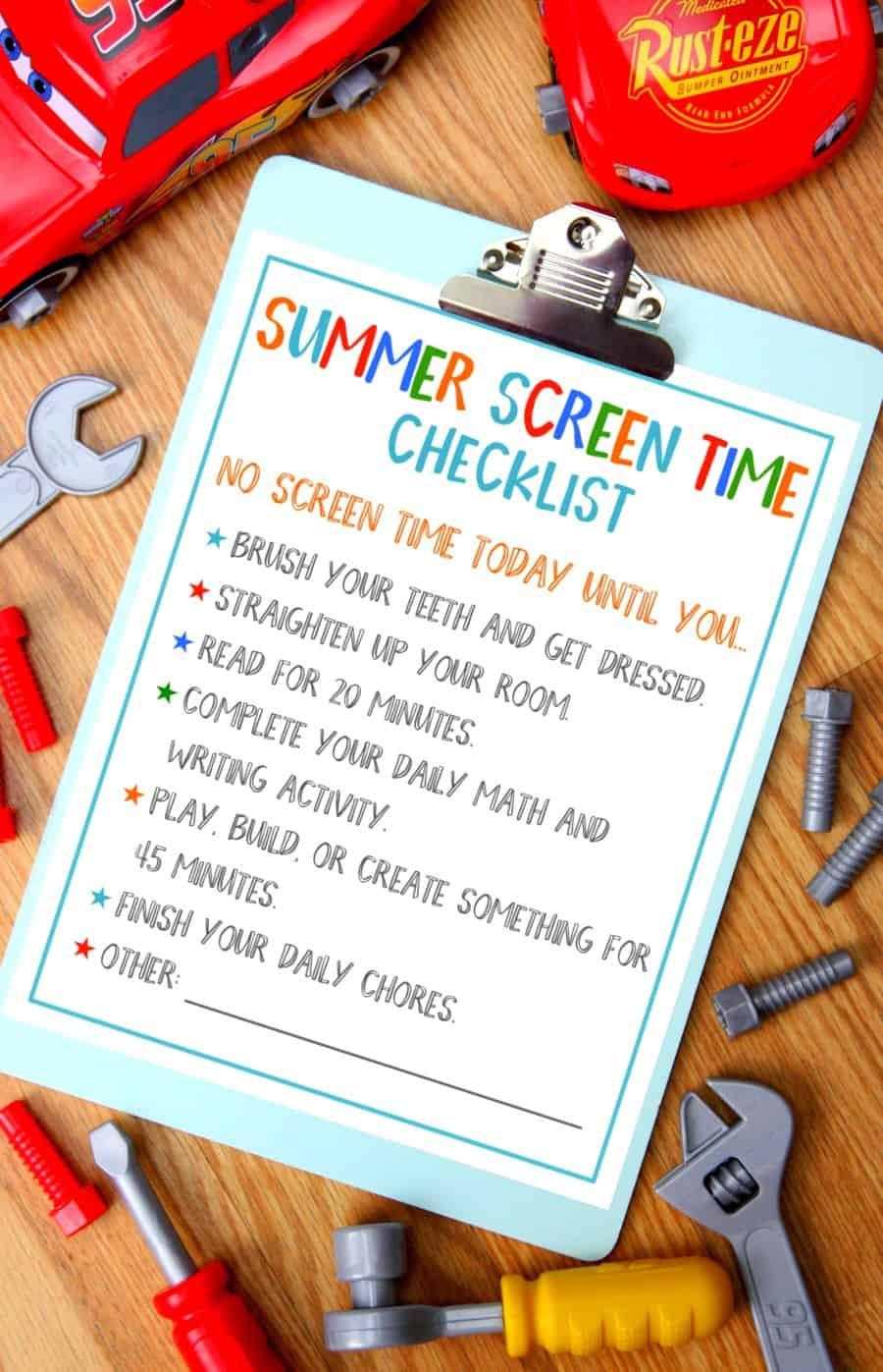 Summer Screen Time Checklist final
