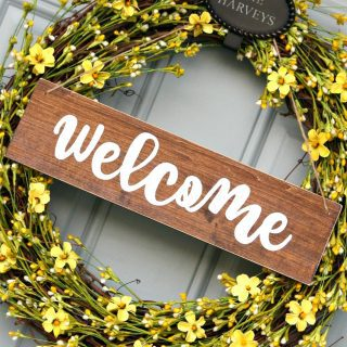 Sunny and Bright Wreath with DIY Welcome Sign