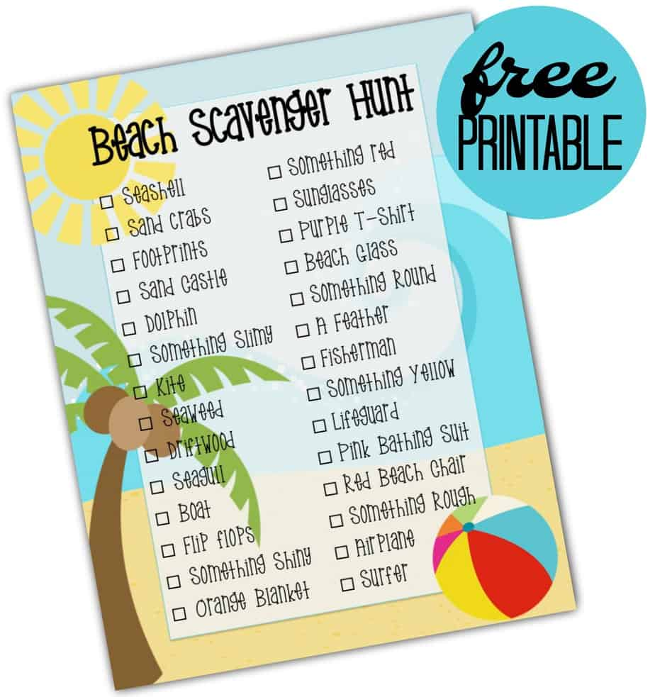 Beach Scavenger Hunt Free Printable 2