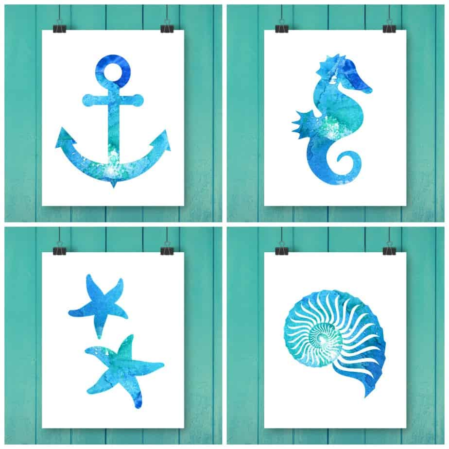 Free Watercolor Beach Printables