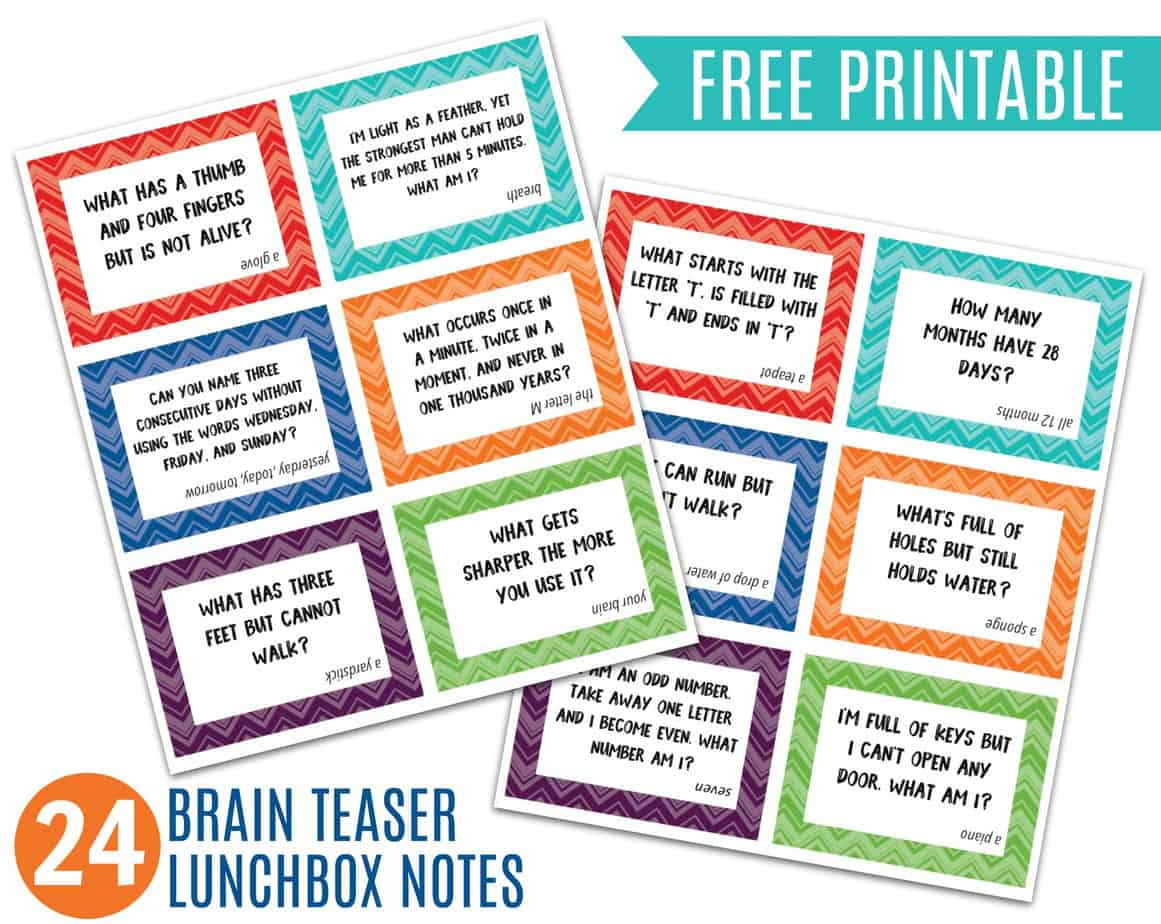 photograph relating to Riddles for Kids Printable named Thoughts Teaser Lunchbox Notes