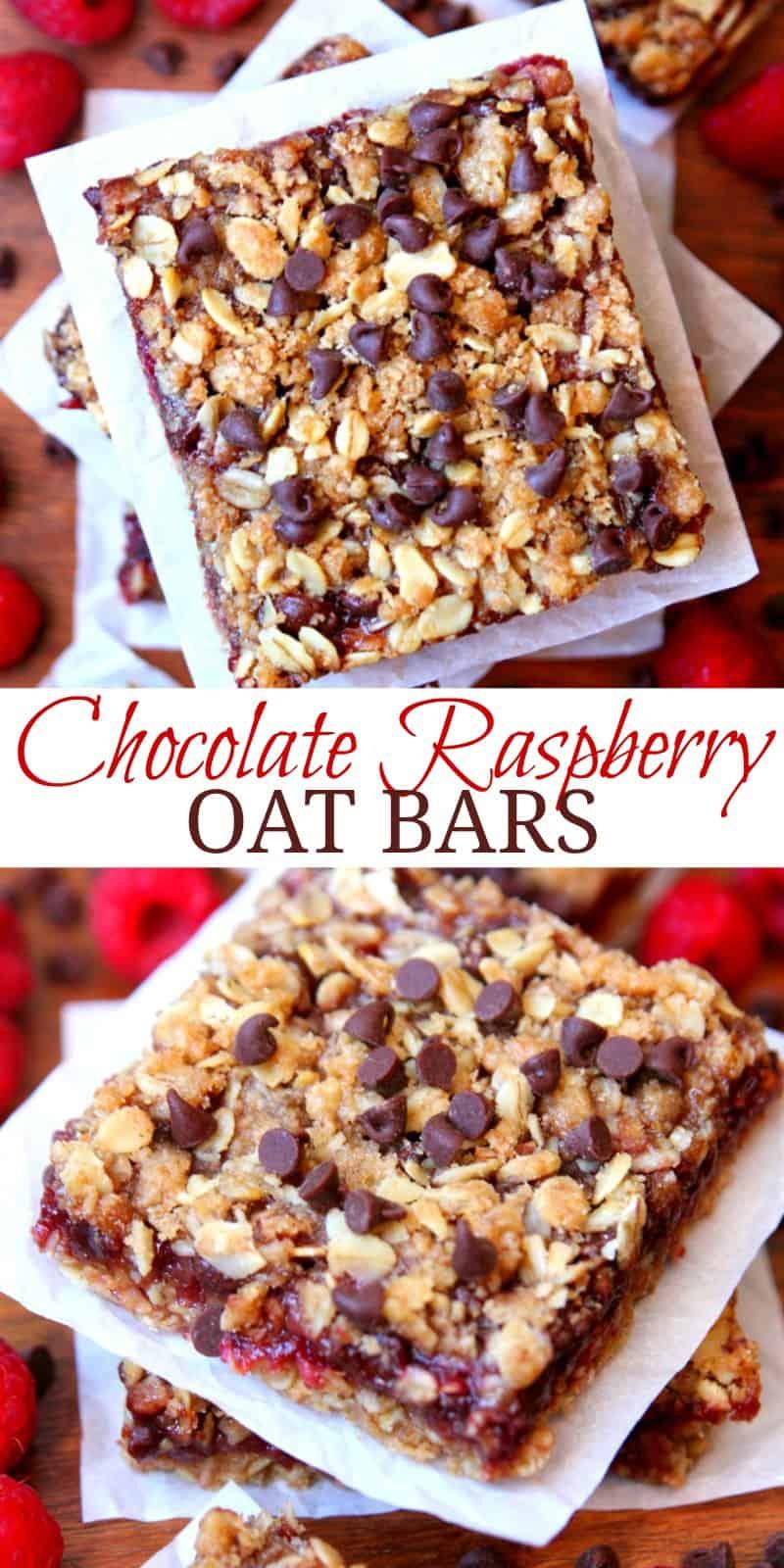 Chocolate Raspberry Oat Bars Happy Go Lucky