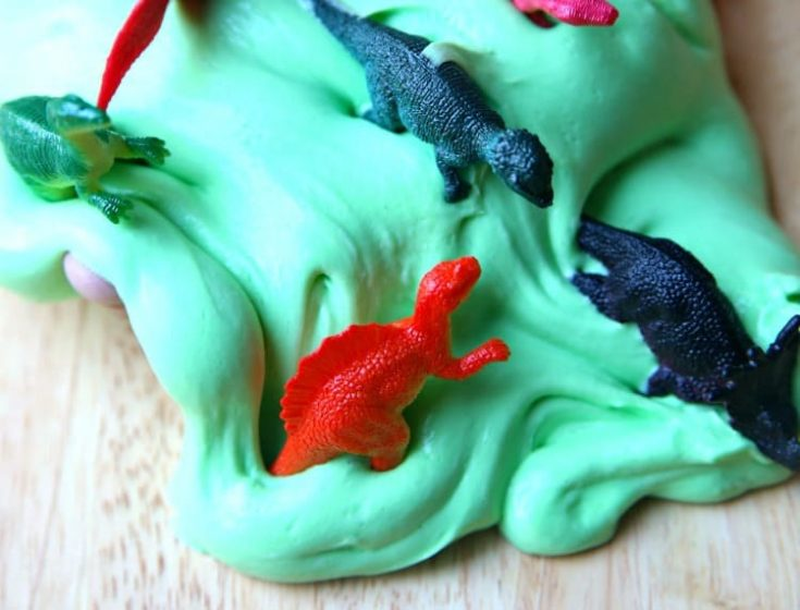 Homemade Fluffy Slime with Dinosaurs