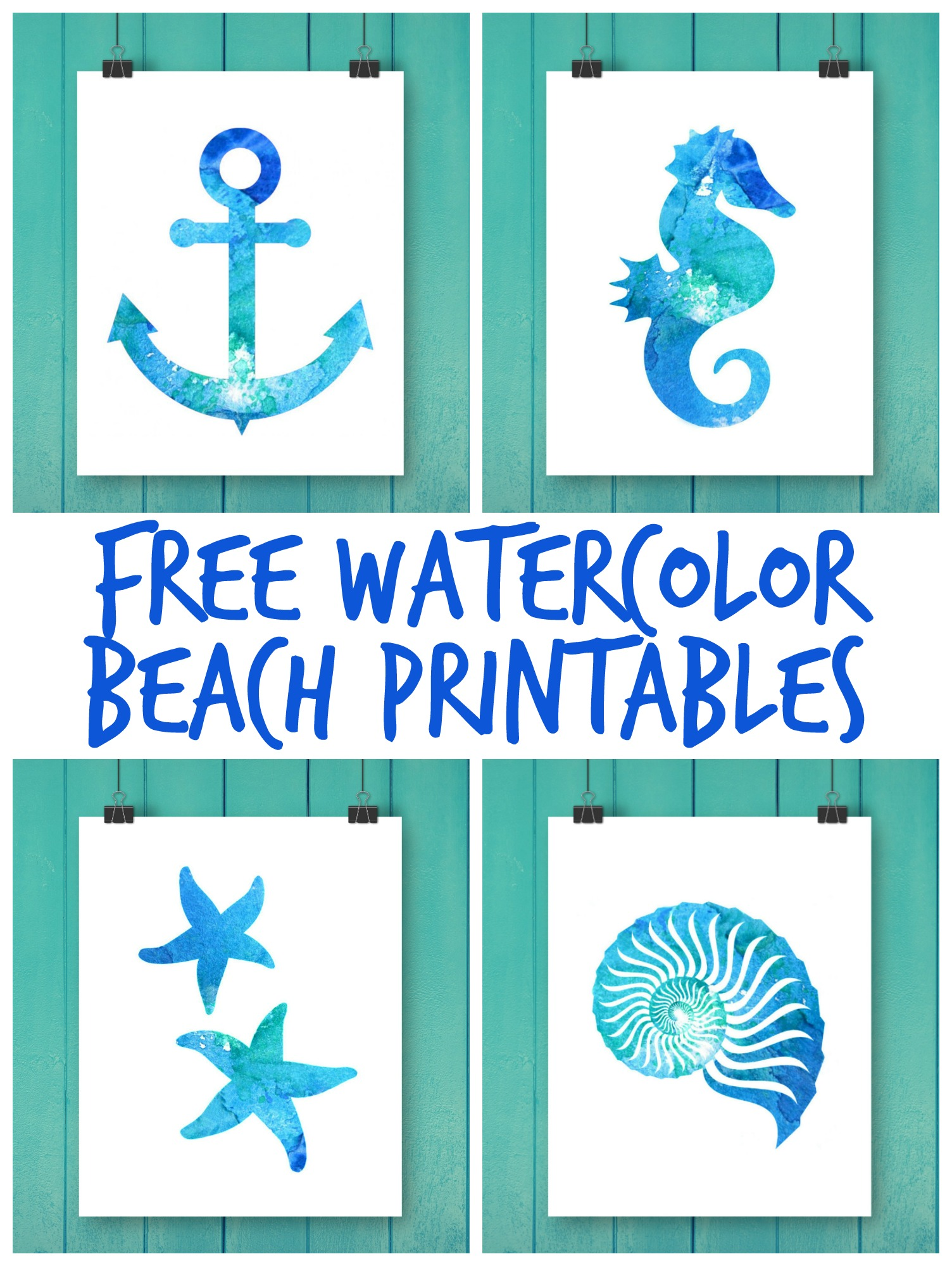 picture relating to Printable Beach Pictures named Cost-free Watercolor Beach front Printables