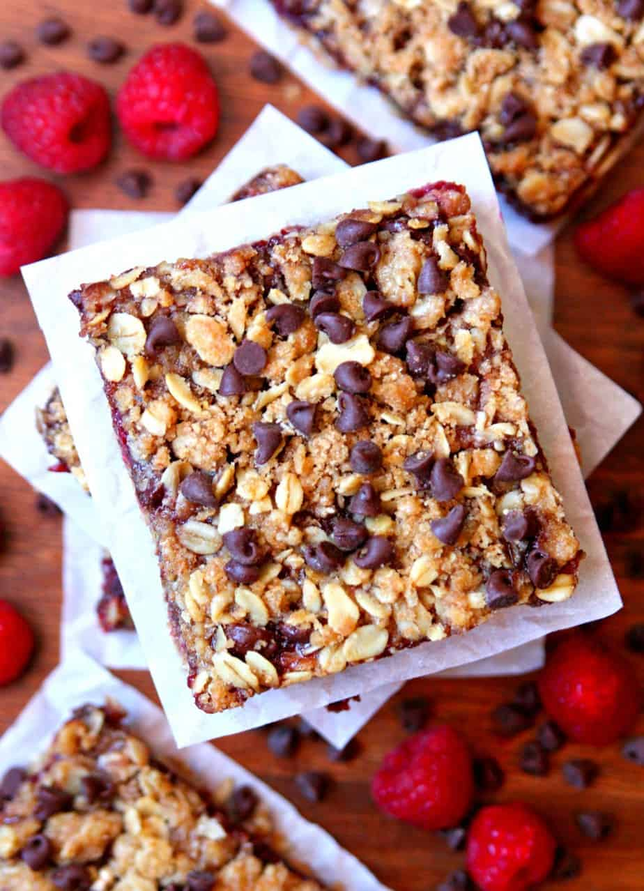 Chocolate Raspberry Oat Bars