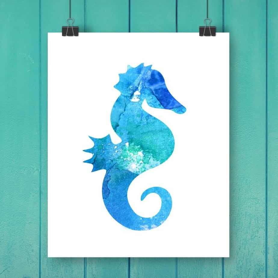 Seahorse Watercolor Printable