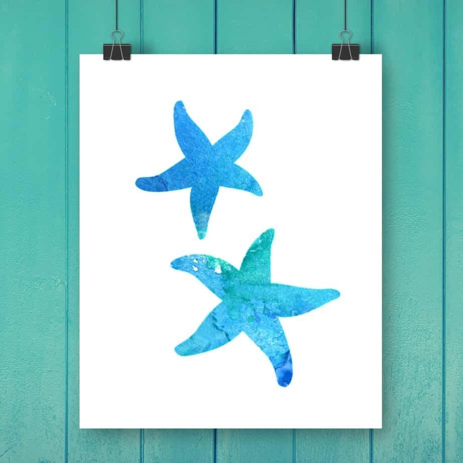 Starfish Watercolor Free Printable