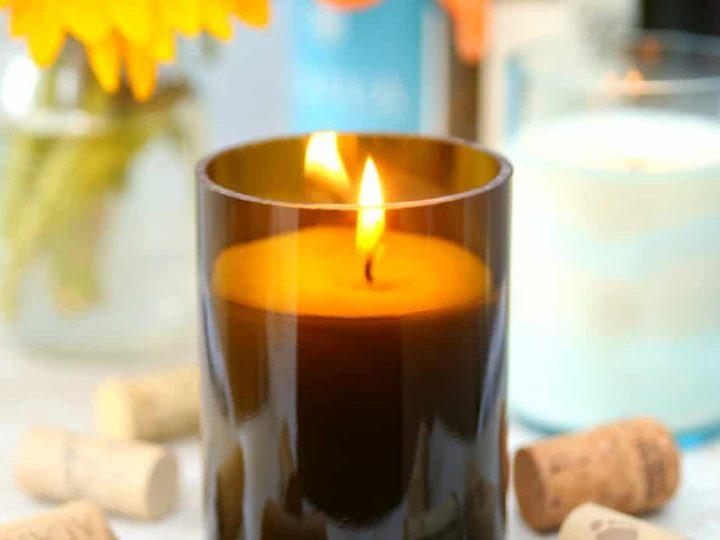 DIY Citronella Wine Bottle Candles