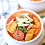 Creamy Sausage Tomato Tortellini Soup
