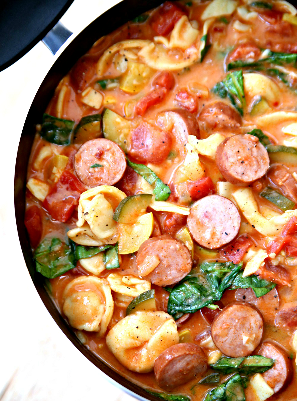 Creamy Smoked Sausage, Tomato, and Tortellini Soup