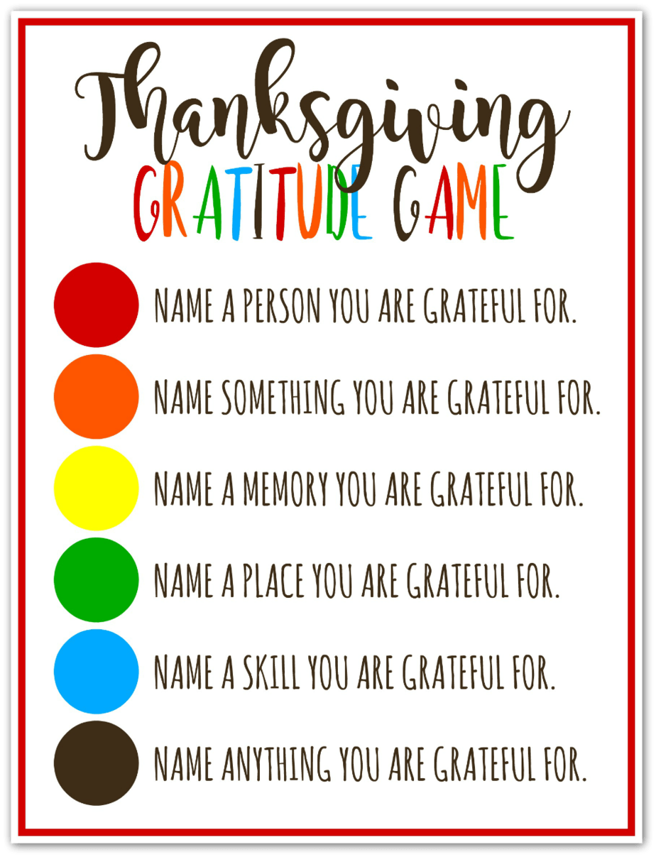 Thanksgiving Gratitude Game