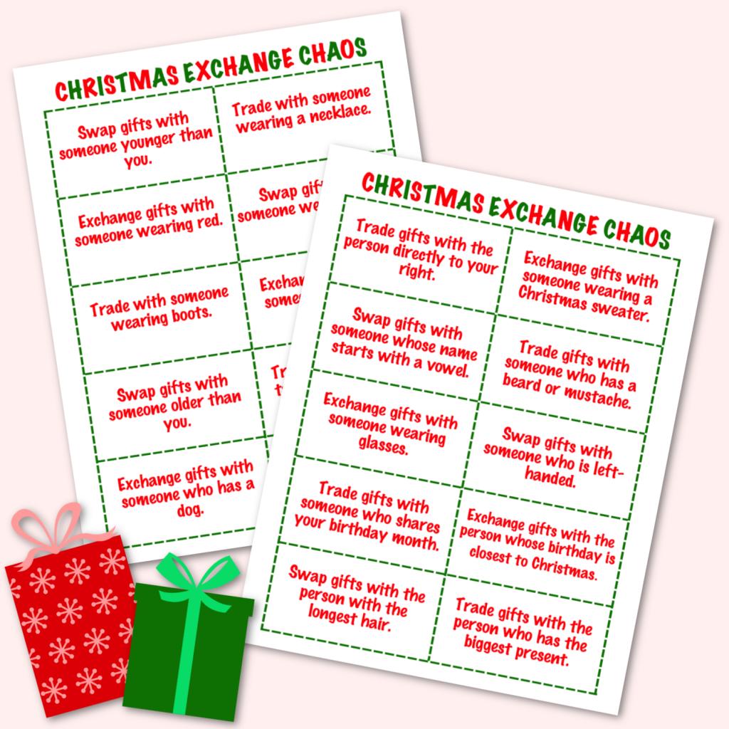 Christmas Exchange Chaos Free Printable Christmas Game