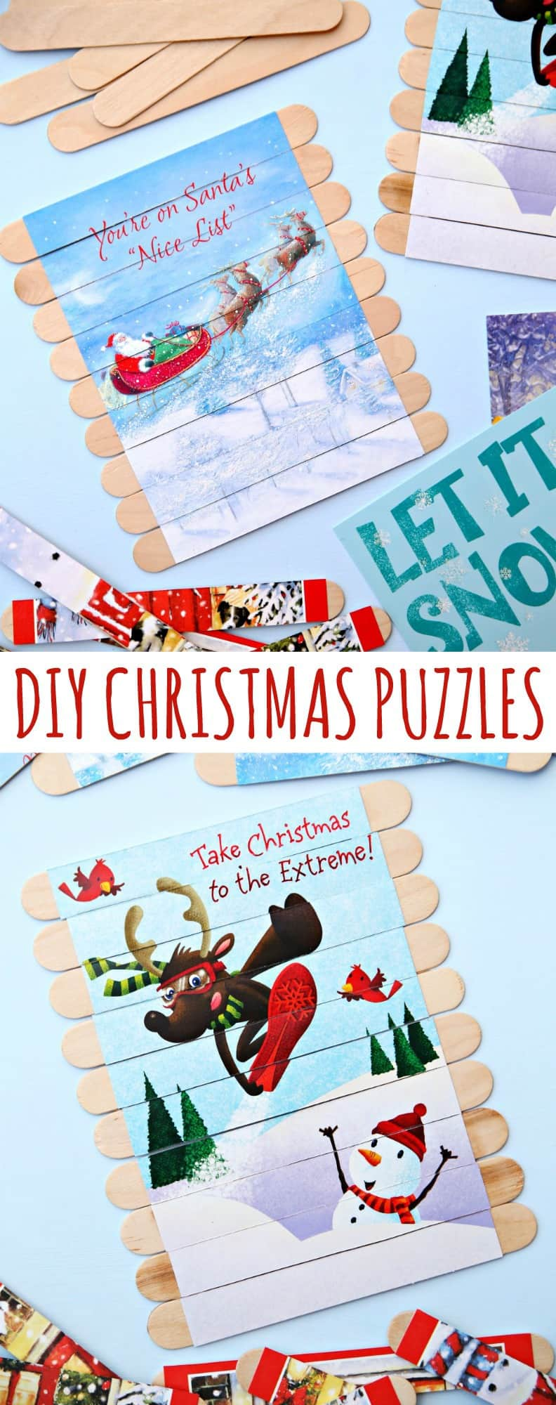 Turn Dollar Store Christmas Cards into DIY Christmas Puzzles