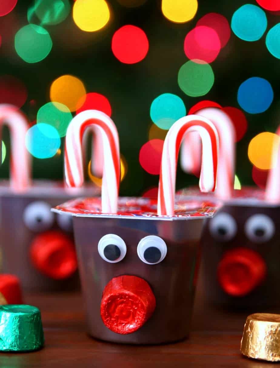 Reindeer Pudding Cup with Candy Canes