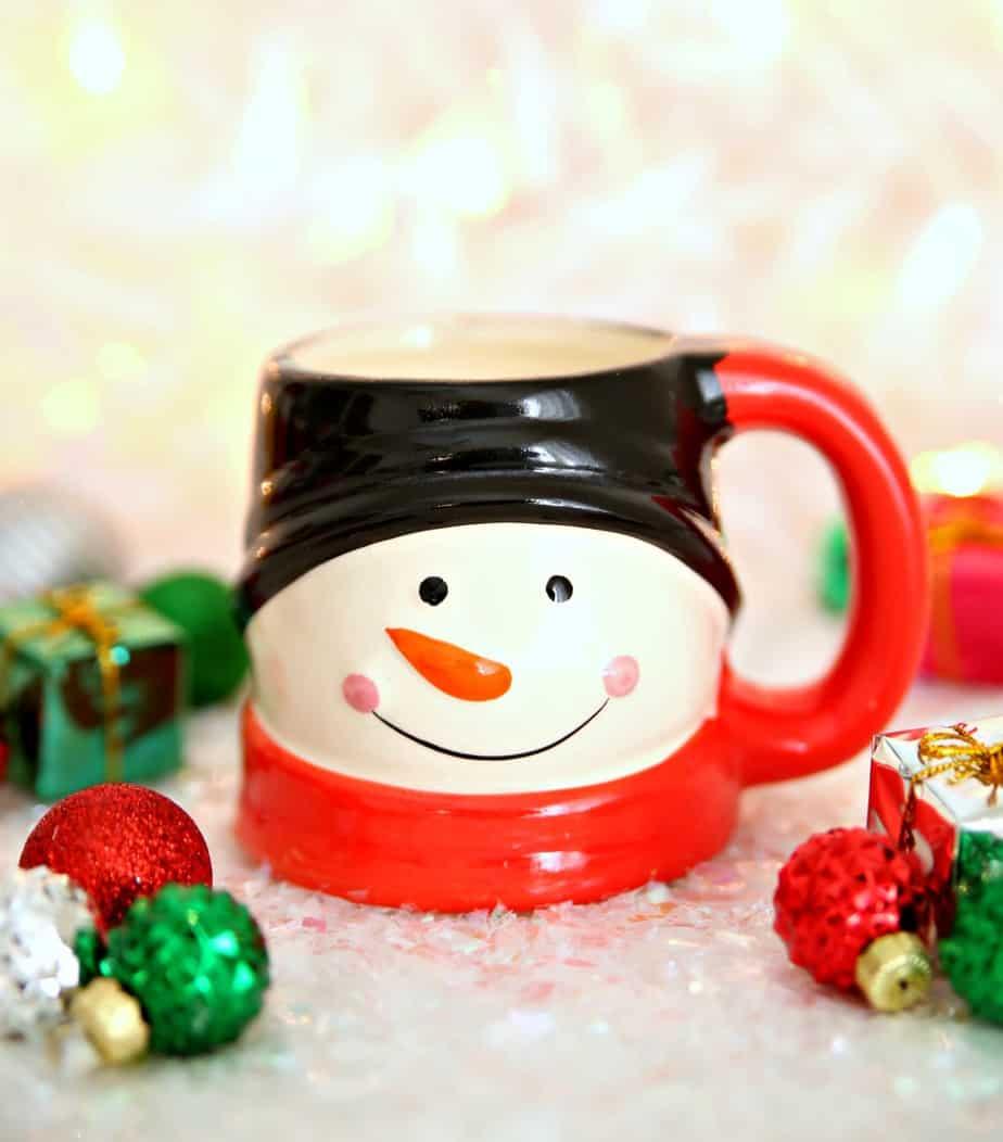 Snowman Dollar Store Mug Candles