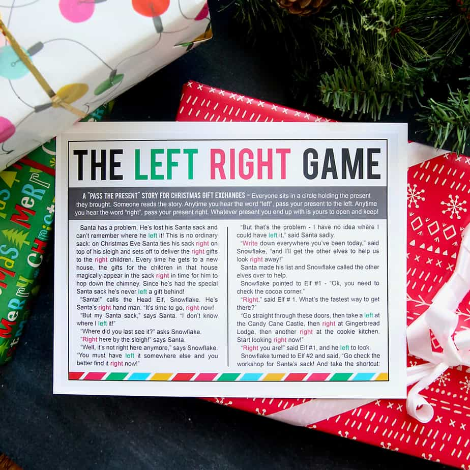 The Left Right Christmas Game