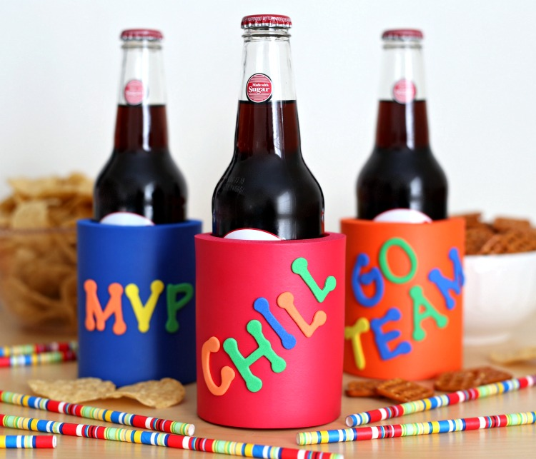 Decorate your own koozies with this fun and easy craft project - Perfect for your Super Bowl Party!