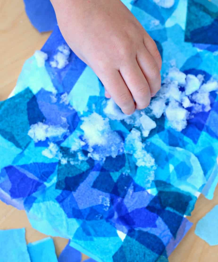 Snow Day Art Project Bleeding Tissue Paper Art