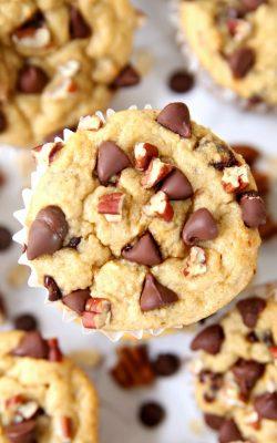Chocolate Pecan Banana Oatmeal Blender Muffins