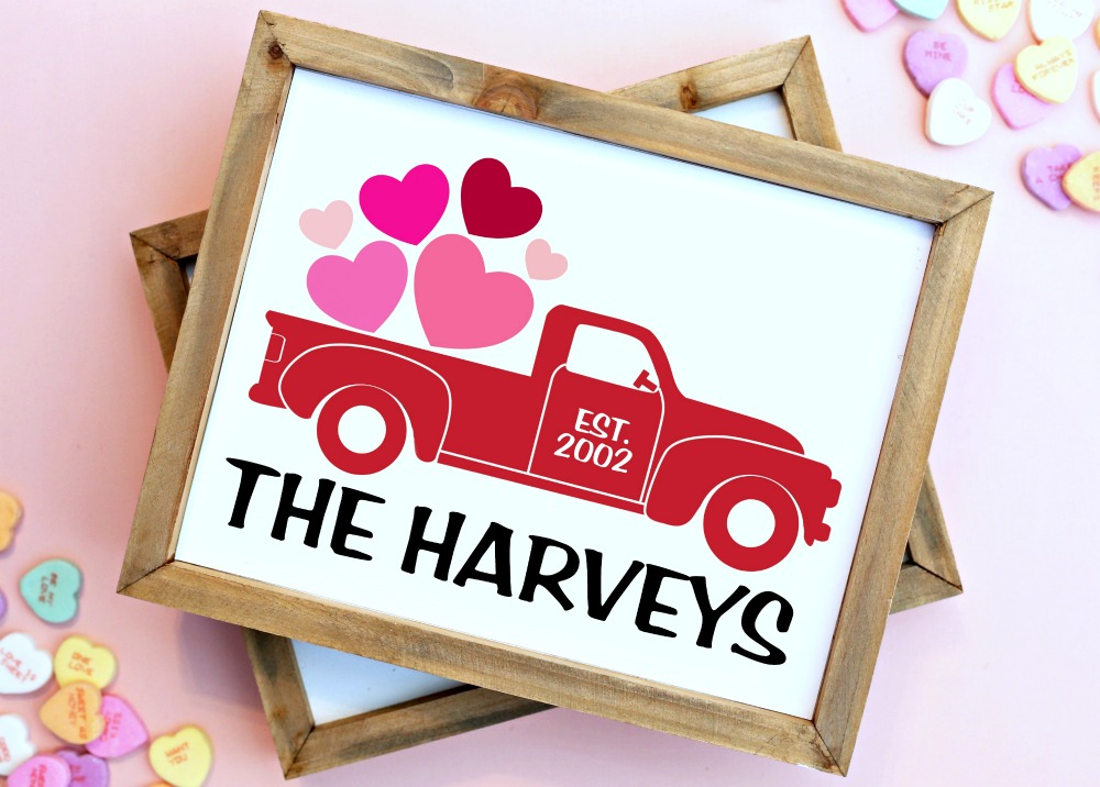 Valentine's Day Personalized Printable - Valentine's Day Vintage Truck Sign