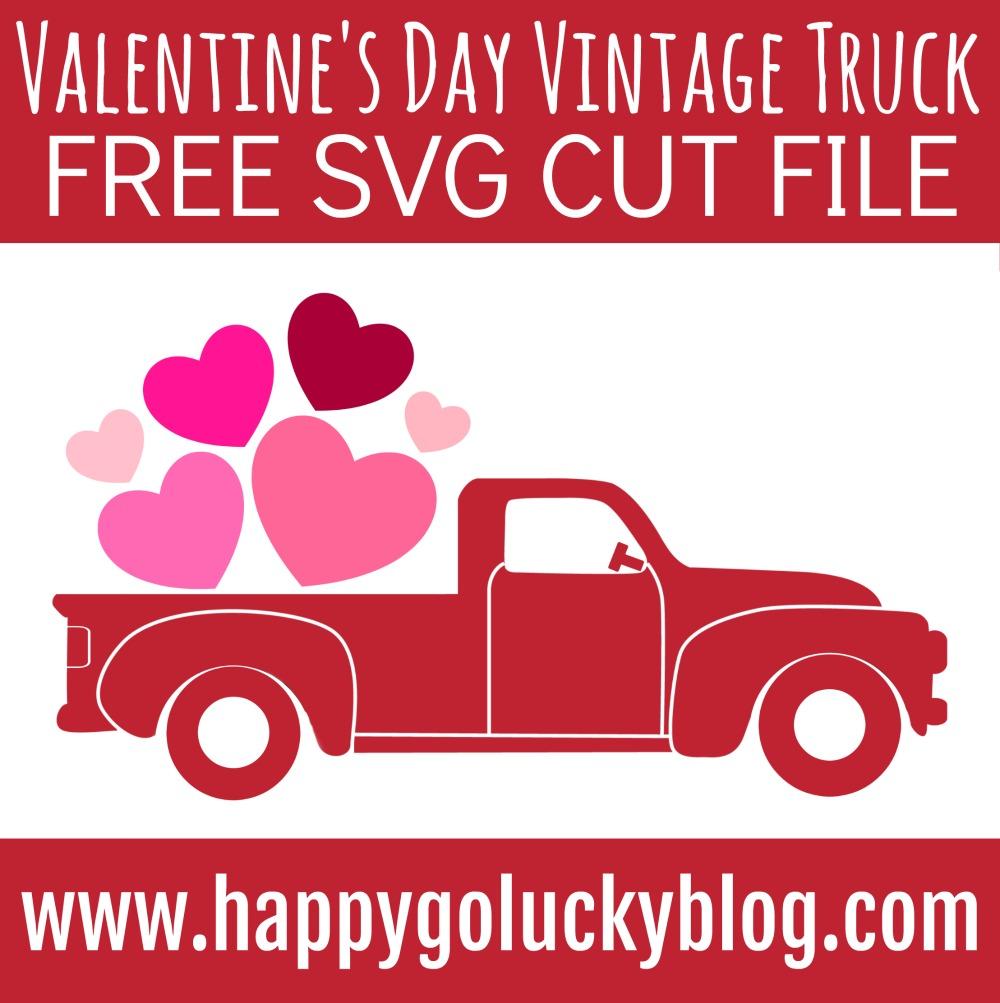 Valentine's Day Vintage Truck Free SVG Cut File