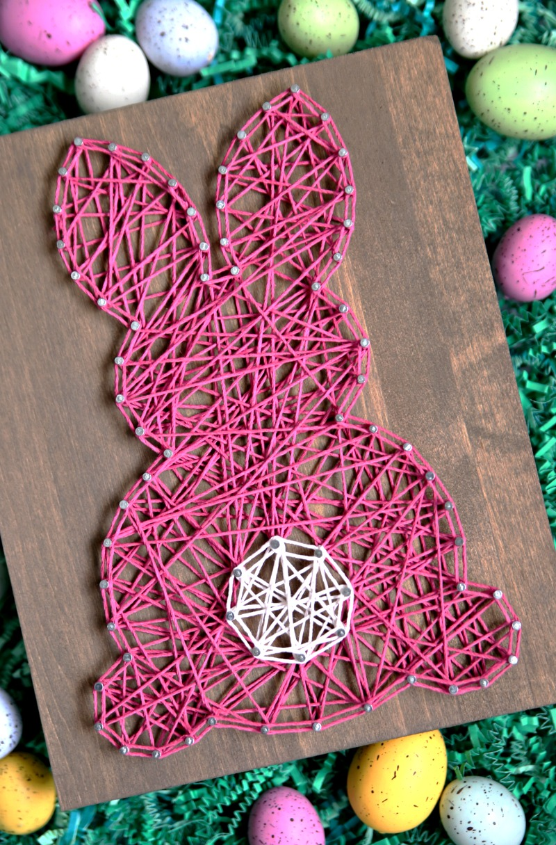 Easter Bunny String Art made with string and nails.