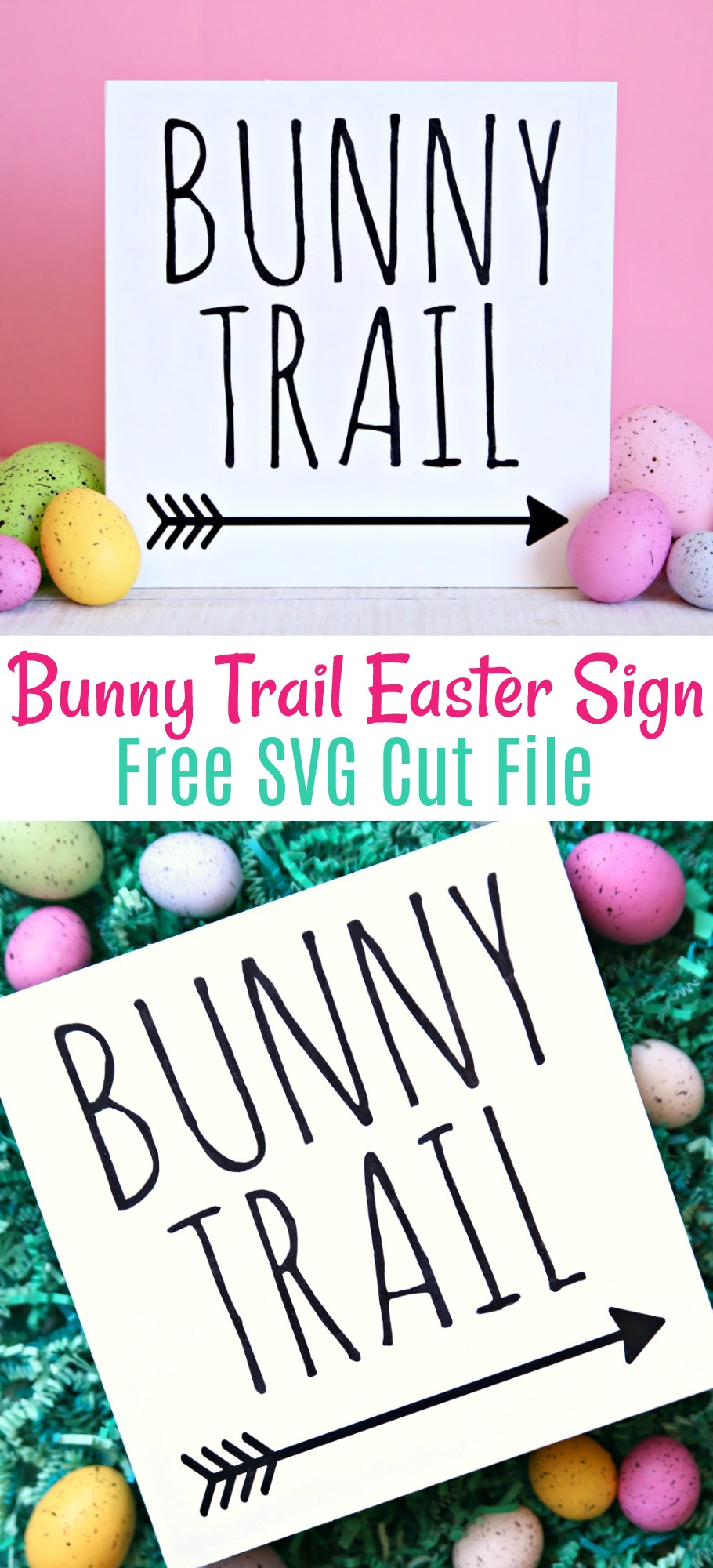Bunny Trail Easter Sign Free SVG Cut File