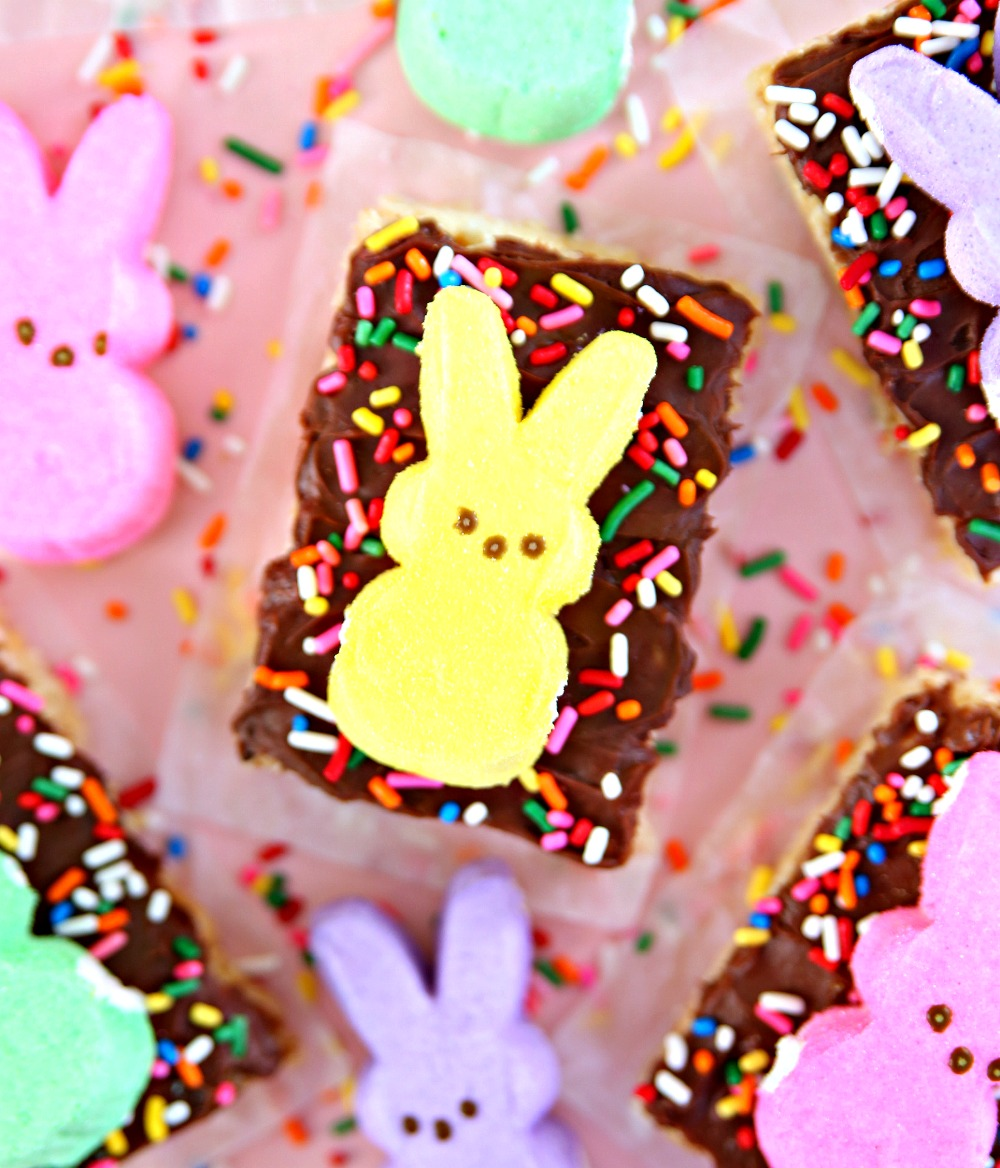 Rice Krispie Treats with Chocolate Icing and PEEPS
