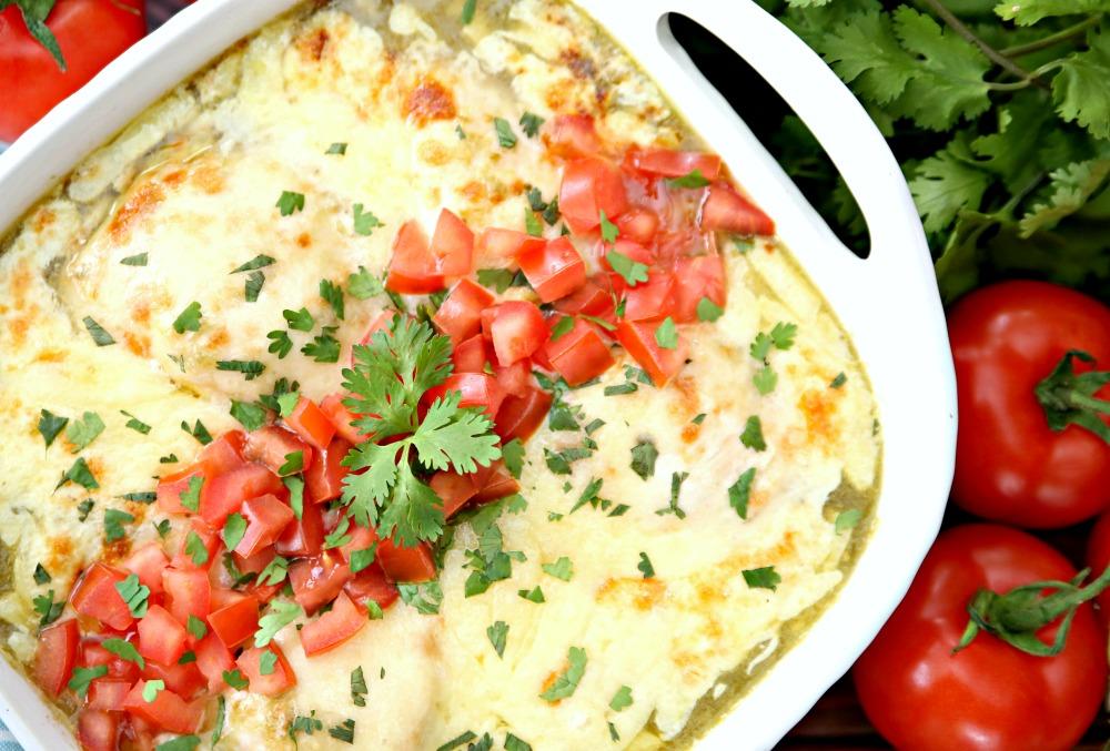 Salsa Verde Chicken Bake Recipe in casserole dish.  Just dump and bake!