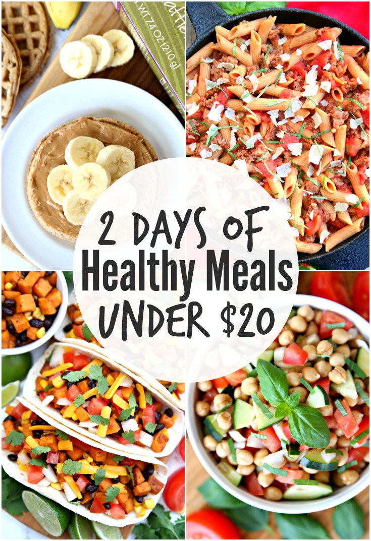 2 days of healthy meals under $20