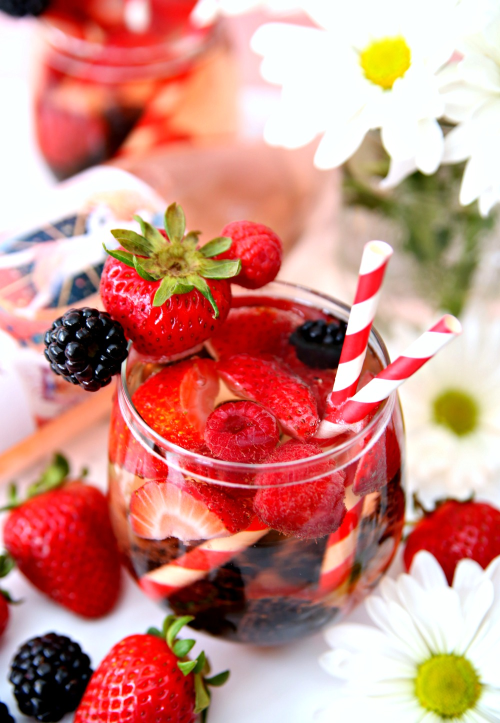 Berry Sangria loaded with fresh fruit and Rose wine
