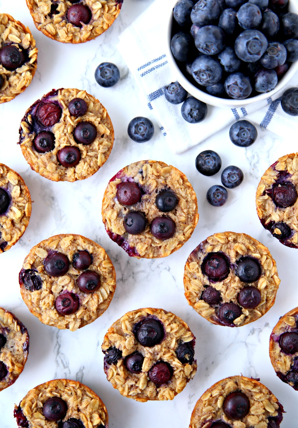 Blueberry Oatmeal Cups on marble countertop