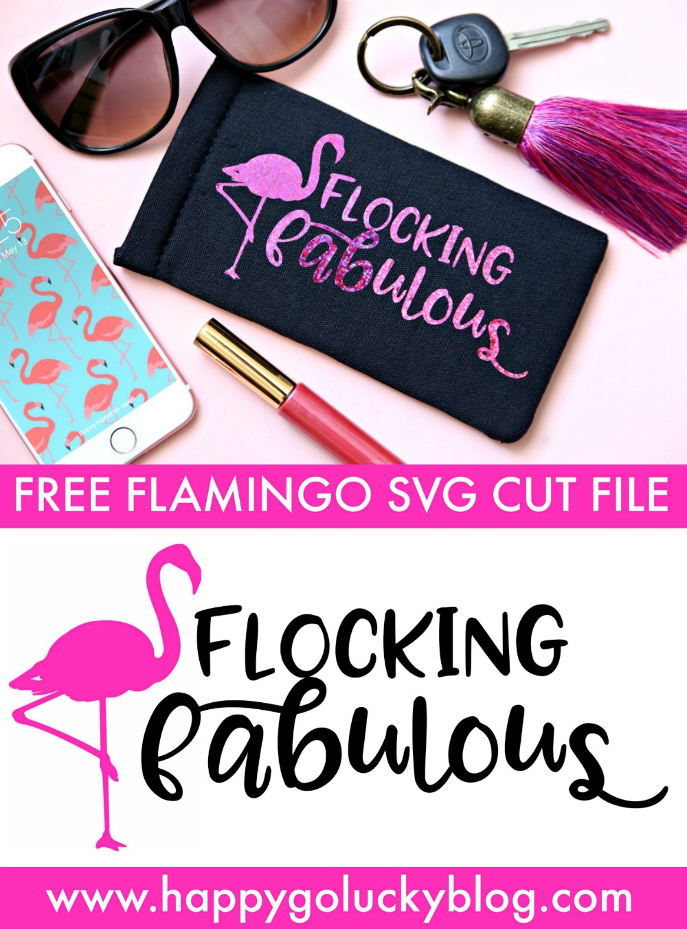 Flocking Fabulous Flamingo Free Svg Cut File Happy Go Lucky