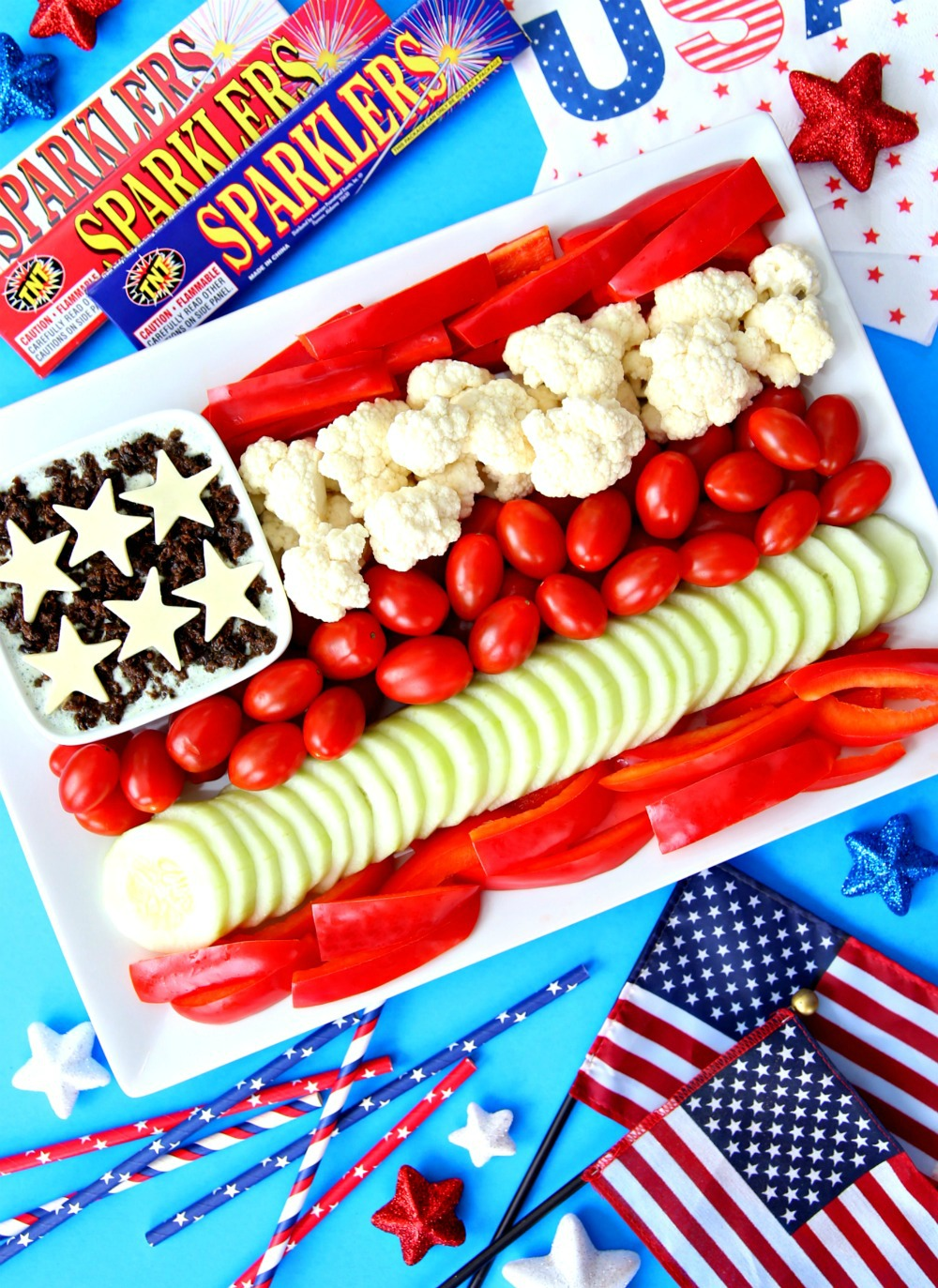4th of July Veggie Tray Flag Vegetable Tray Patriotic Veggie Platter