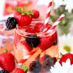 Blushing Berry Rosé Sangria with fresh berries, Rose wine, and berry brandy