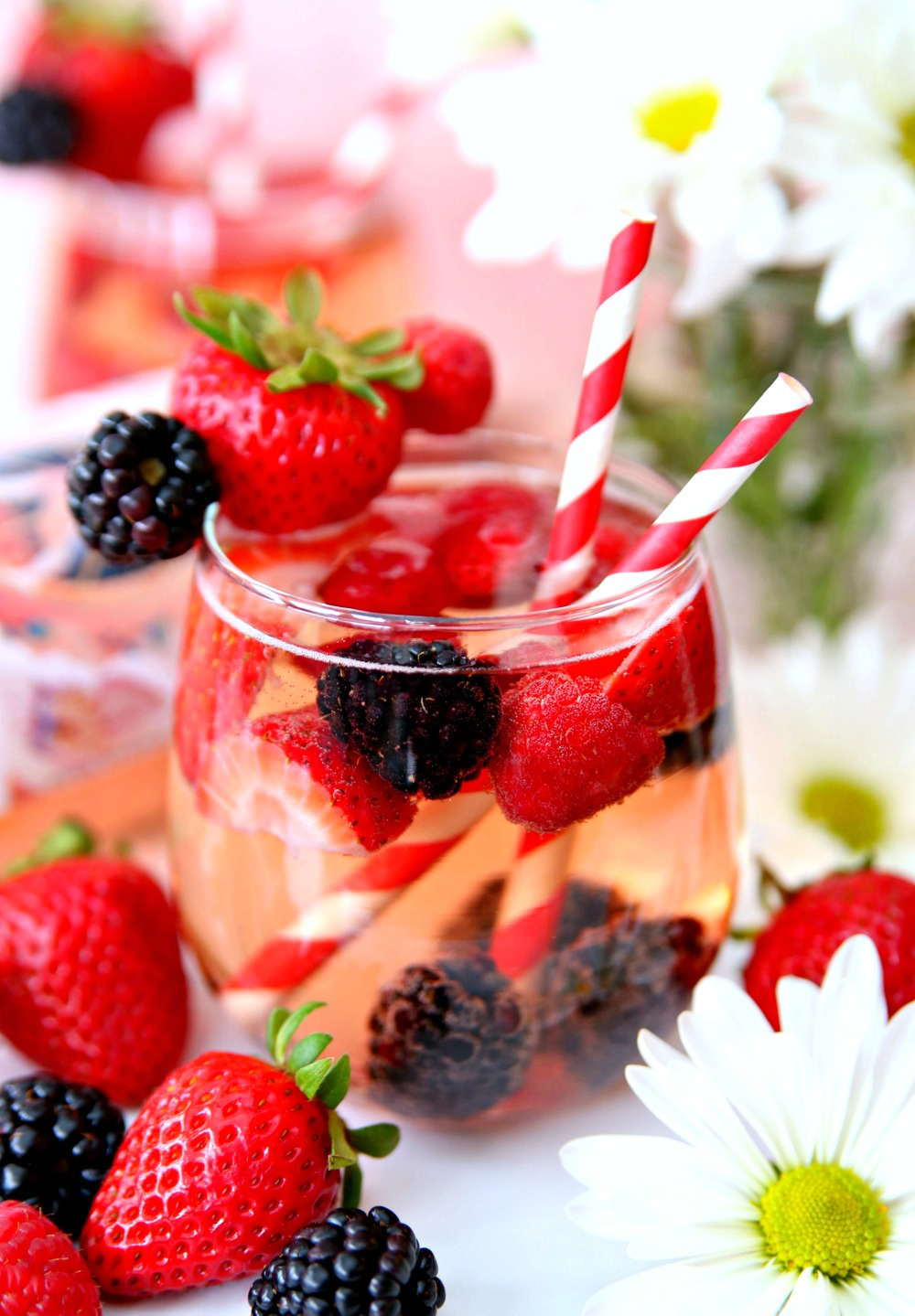Rose sangria with brandy and fresh fruit