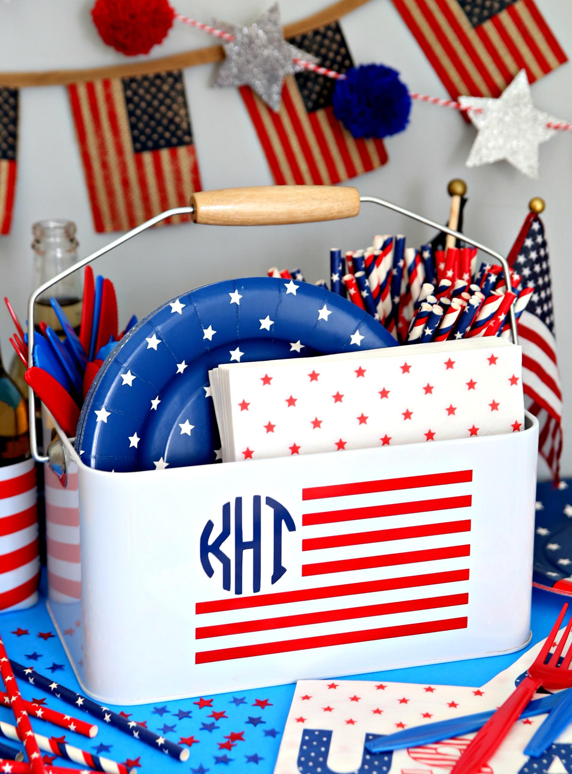Monogrammed Utensil Caddy American Flag Monogram