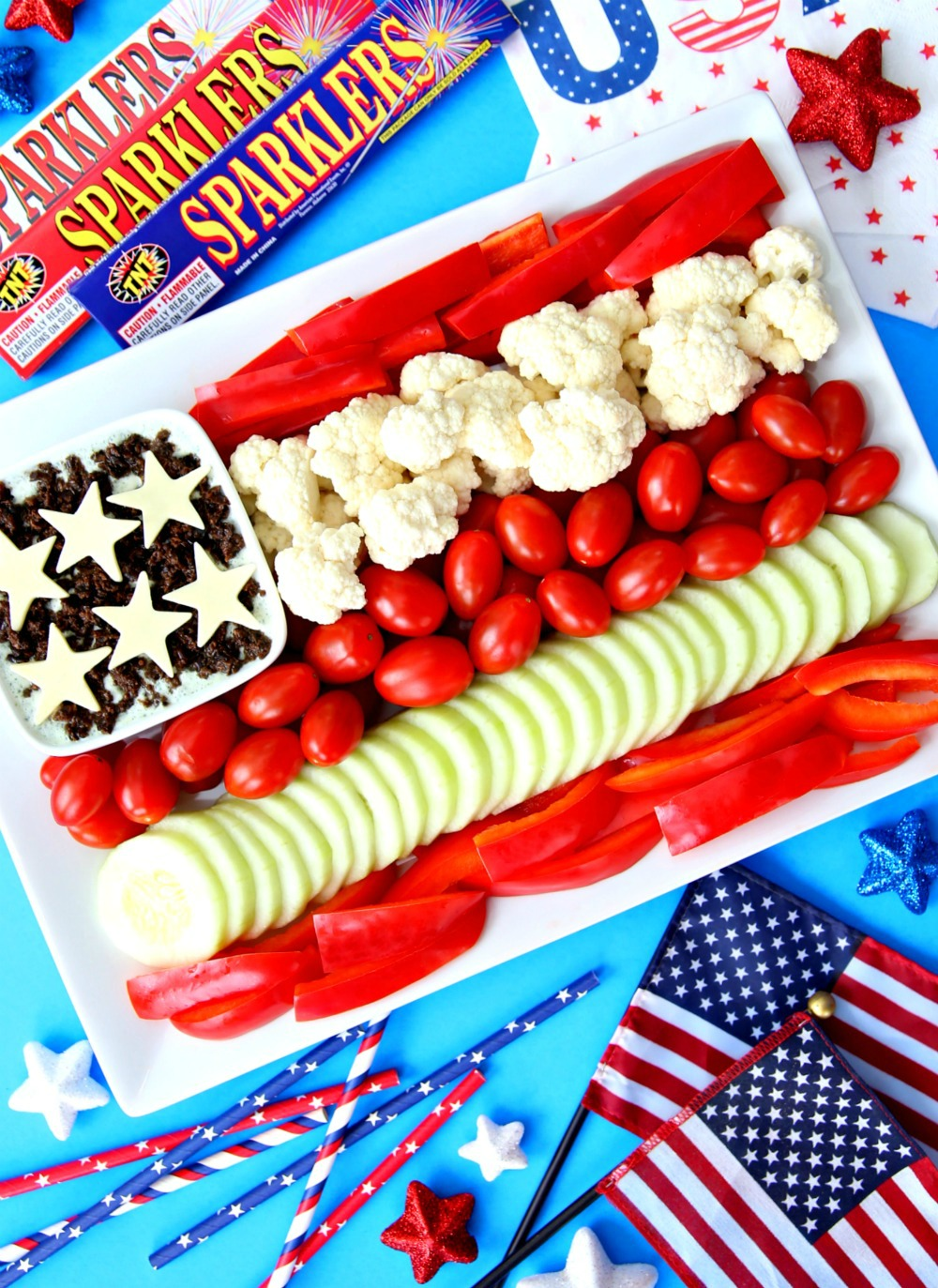 Patriotic Vegetable Tray Flag Veggie Platter Patriotic Veggie Platter