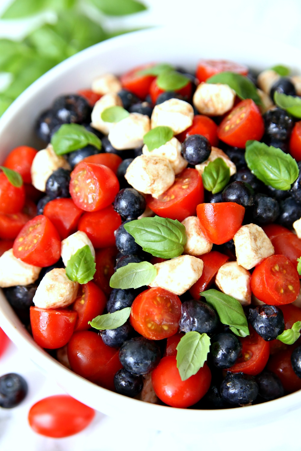 Red White Blueberry Caprese Salad 4th of July Side Dish