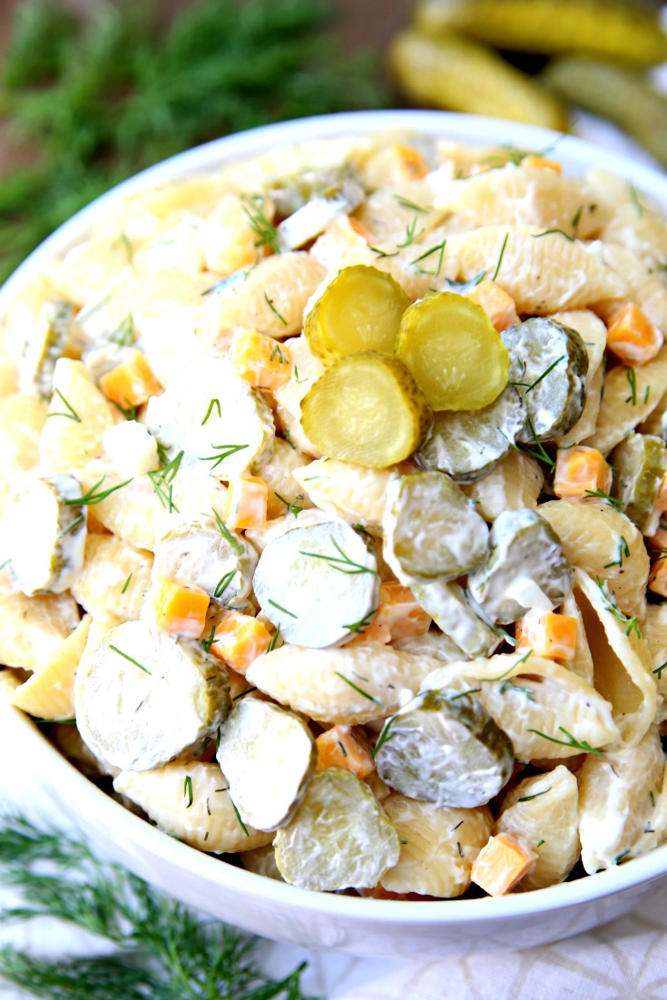 Dill Pickle Pasta Salad Recipe A creamy pasta salad filled with pickles, pasta, cheese, and more!