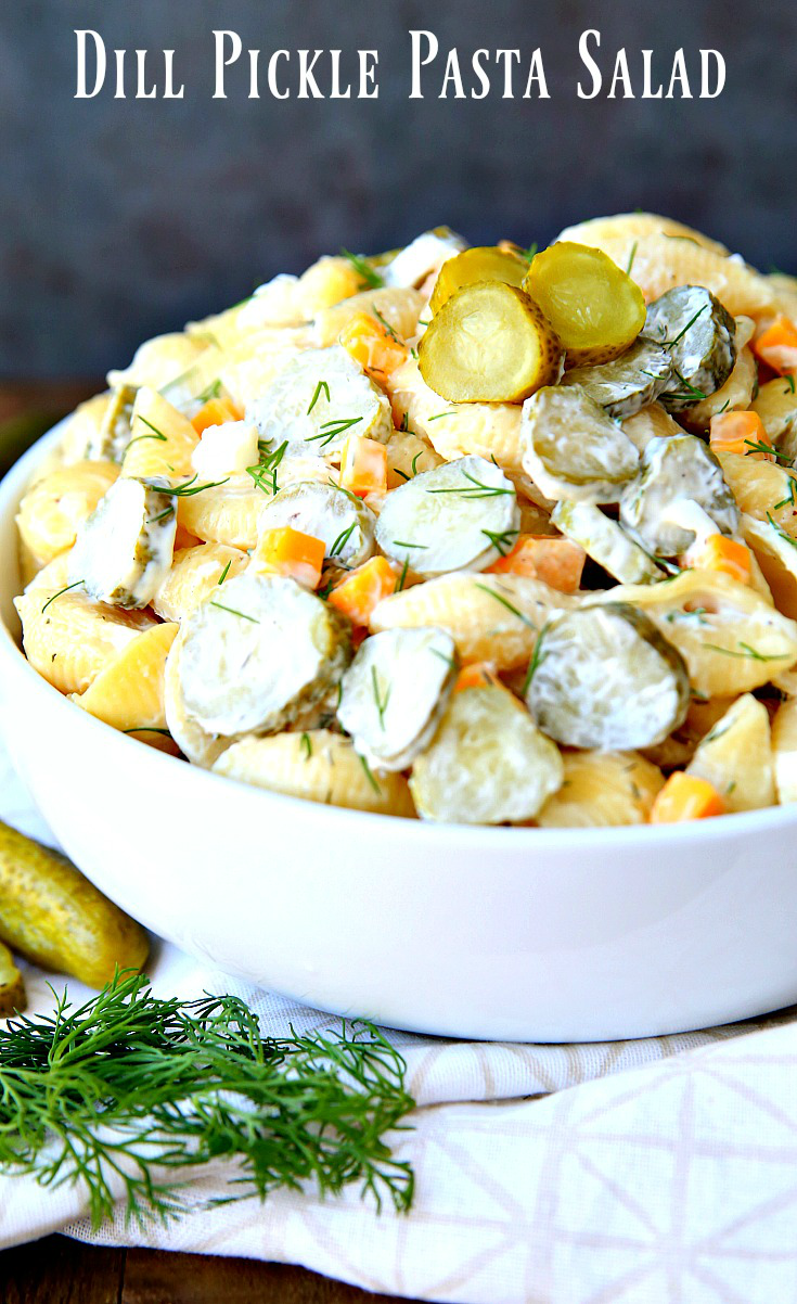 Dill Pickle Pasta Salad made with pickles, pasta, and cheese with a creamy dill dressing.