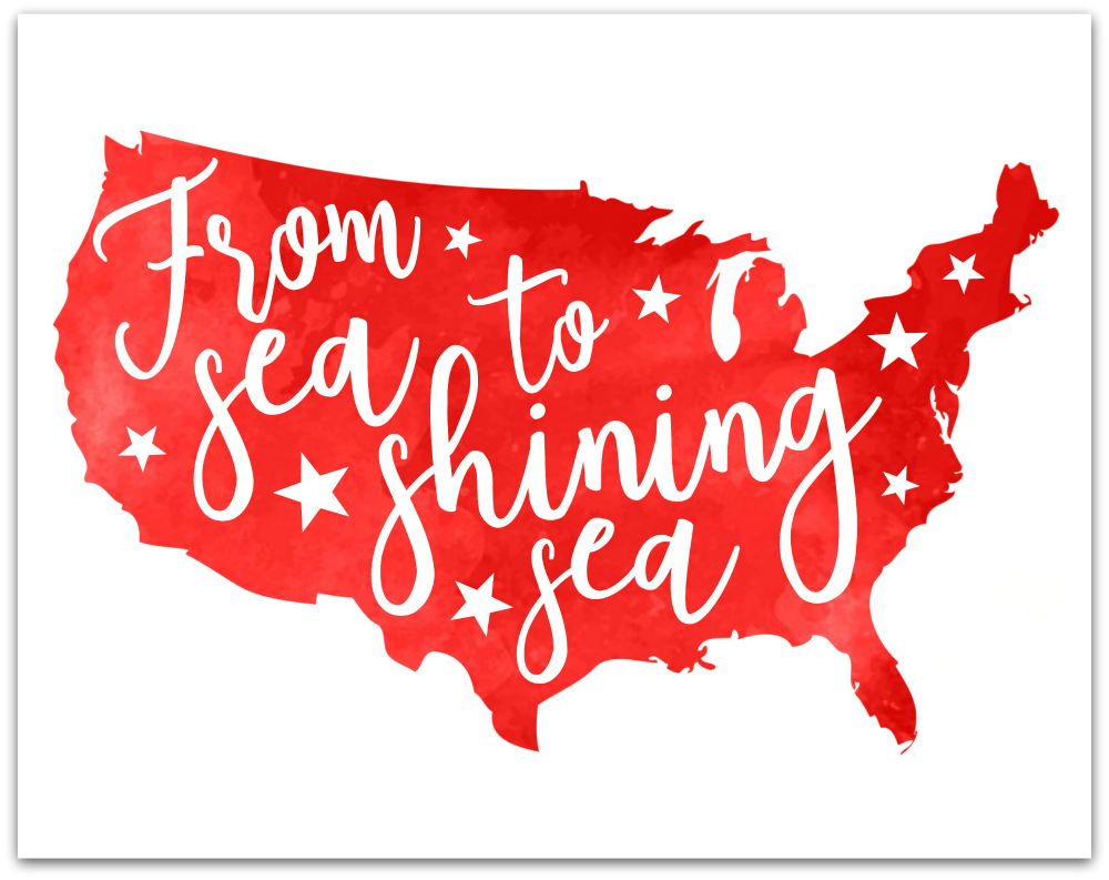 From Sea to Shining Sea 4th of July Free Printable