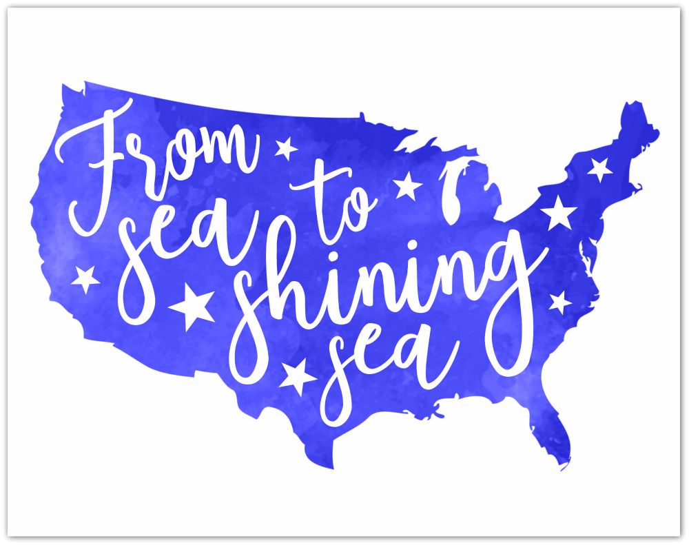 From Sea to Shining Sea 4th of July Free Printable Blue Watercolor