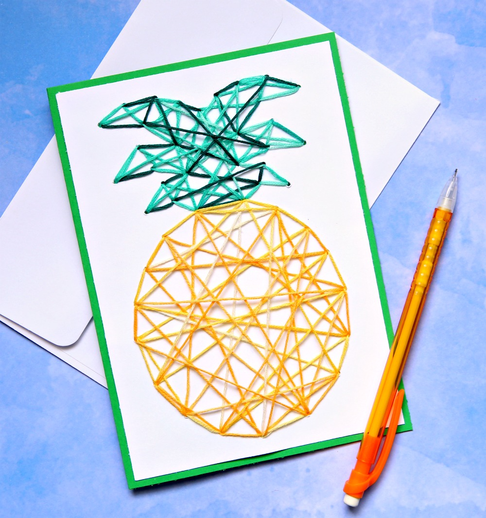 Pineapple Stitched String Art Notecard